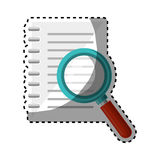 Notebook school with magnifying glass supply icon Stock Photos