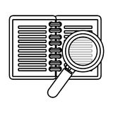 Notebook school with magnifying glass supply icon Stock Photo