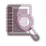 Notebook school with magnifying glass supply icon Royalty Free Stock Photo