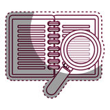 Notebook school with magnifying glass supply icon Royalty Free Stock Photos