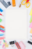 Notebook and school or office tools  on white background And Stock Photos