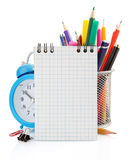 Notebook and school supplies isolated on white Royalty Free Stock Photography