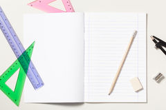 Notebook and School Supplies Royalty Free Stock Photography