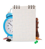 Notebook and school supplies on white Stock Photography