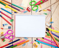 Notebook with school supplies Royalty Free Stock Images