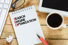 Notebook with search engine optimization Stock Image