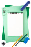 Notebook on sheets of textured paper imitating a frame Royalty Free Stock Images
