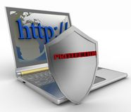 Notebook with shield. Internet security concept Stock Photos
