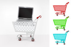 Notebook in shopping cart colorful collection concept vector. Illustration royalty free illustration