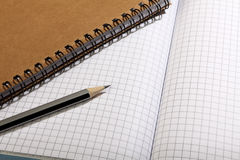 A notebook and a simple, black pencil lie on a blank sheet of paper. Close-up. Stock Photo