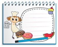 A notebook with a sketch of a chef Stock Photo