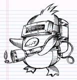 Notebook Sketch Doodle Penguin Commando. Drawing Vector Illustration Art royalty free illustration