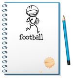 A notebook with a sketch of a football athlete Stock Images
