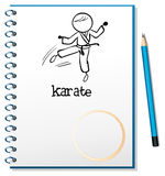 A notebook with a sketch of a karate athlete. Illustration of a notebook with a sketch of a karate athlete on a white background stock illustration