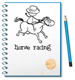 A notebook with a sketch of a man riding a horse Royalty Free Stock Photos