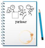 A notebook with a sketch of a parkour training at the cover page Stock Image