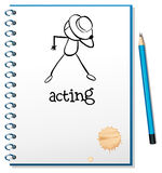 A notebook with a sketch of a person acting at the cover page Royalty Free Stock Photo