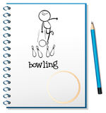A notebook with a sketch of a person playing bowling Royalty Free Stock Photo