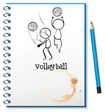 A notebook with a sketch of the volleyball players Royalty Free Stock Photo