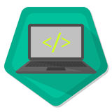 Notebook. With slash and less-than sign and greater-than sign on a green pentagon background Royalty Free Stock Photography