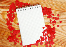 Notebook with small red hearts Royalty Free Stock Images