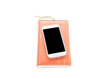 Notebook and smart phone on white background Stock Photo