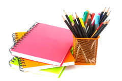 Notebook spiral bound and pencil on white background Stock Photo