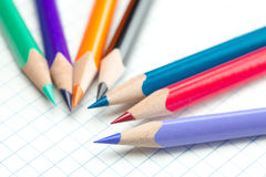 Notebook with a spiral and colored  pencil Stock Images