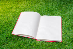 .Notebook on spring green grass Stock Photo