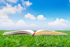 Notebook on spring green grass. Stock Image