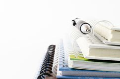 Notebook stack. With pen,stationery royalty free stock photos