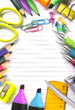 Notebook with stationary objects Royalty Free Stock Photo