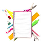 Notebook with stationary objects Stock Image