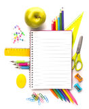 Notebook with stationary objects Royalty Free Stock Image