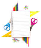 Notebook with stationary objects Royalty Free Stock Photography