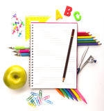 Notebook with stationary objects Stock Photo