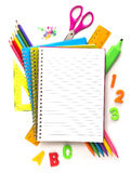 Notebook with stationary objects Stock Photos