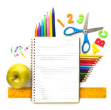 Notebook with stationary objects Royalty Free Stock Photos