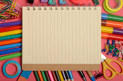 Notebook with stationary office supply Stock Image