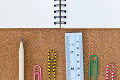 Notebook and stationary Royalty Free Stock Photography