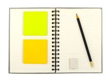 Notebook and stationary Royalty Free Stock Photos