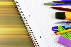 Notebook and stationery Stock Image