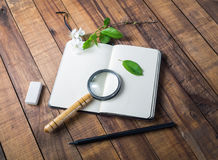 Notebook and stationery royalty free stock photos