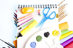 Notebook and supplies Royalty Free Stock Photos