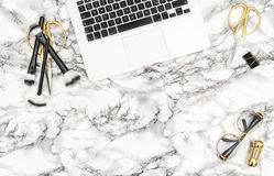 Notebook  supplies accessories fashion office desk flat lay Royalty Free Stock Photo