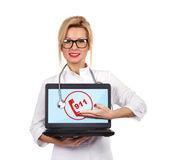 Notebook with 911 symbol. Young female doctor holding notebook with 911 symbol Royalty Free Stock Photography