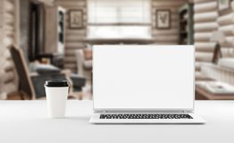 A notebook with coffee cup, mockup. Home office concept. 3d illustration. A notebook on the table with coffee cup, mockup. Home office concept. 3d illustration Stock Images