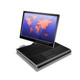 Notebook Tablet PC world. Drawing of a notebook tablet PC Stock Photography