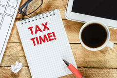 Notebook with tax time Stock Image