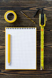 Notebook and technical tools Royalty Free Stock Photo